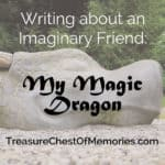 Writing about an Imaginary Friend graphic with stone dragon
